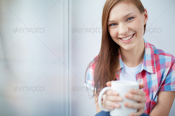 Girl with mug - Stock Photo - Images