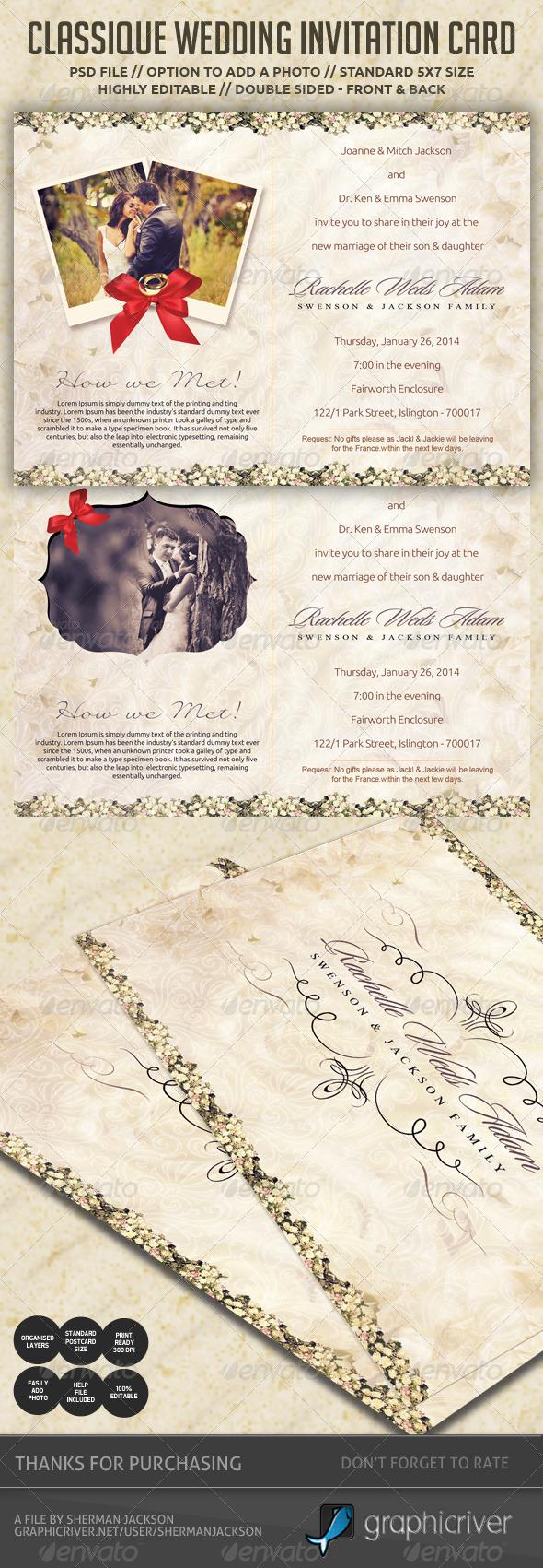 Classique Wedding Invitation / Postcard