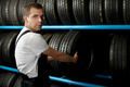 Young Mechanic holding a car tire - PhotoDune Item for Sale