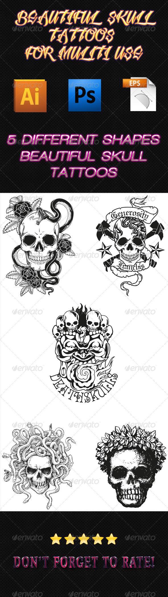 GraphicRiver Skull Tattoos 01 6353126