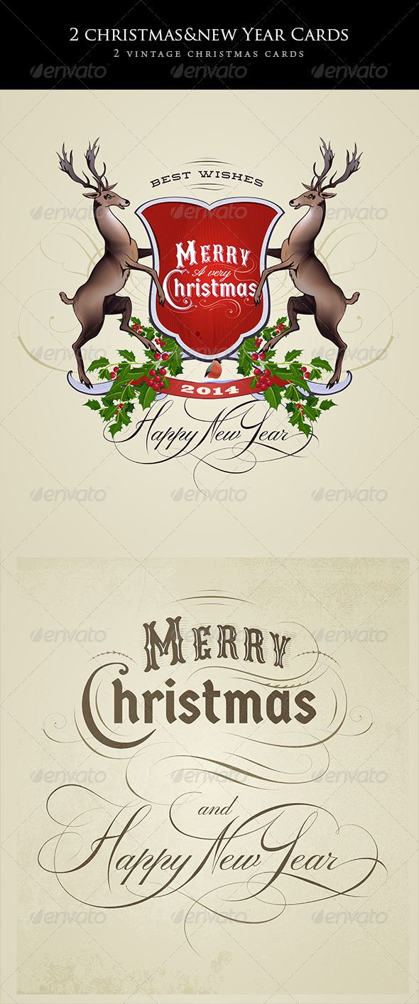 GraphicRiver 2 Vintage Christmas and New Year Cards 6374661