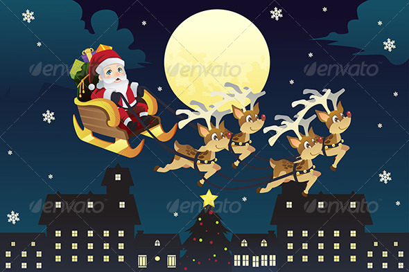 GraphicRiver Santa Riding Sleigh with Reindeers 6374864