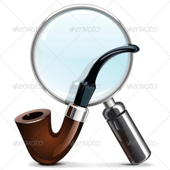 GraphicRiver Vector Tobacco Pipe and Loupe 6374865