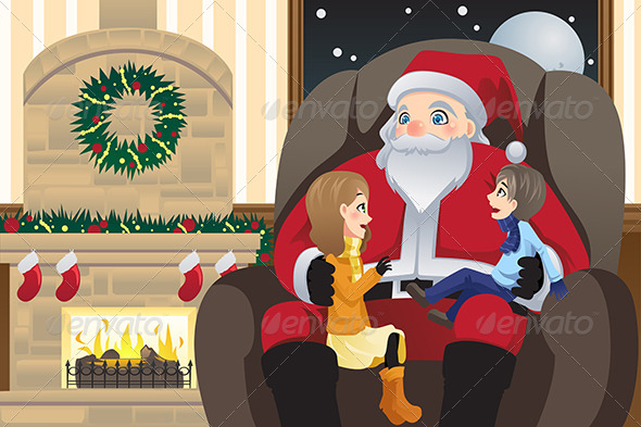 GraphicRiver Santa Claus with Two Kids 6374867