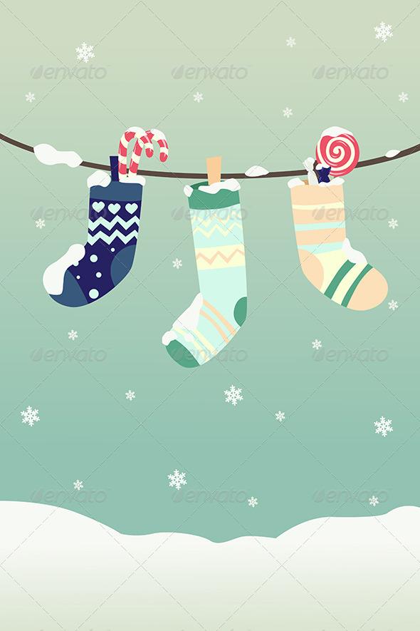 GraphicRiver Winter Christmas Stockings 6374910