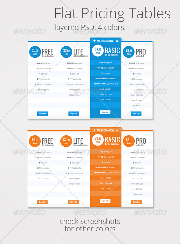 GraphicRiver Flat Clean Web Pricing Tables 6337821