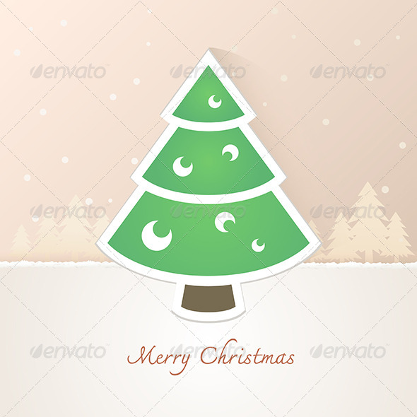 GraphicRiver Christmas Tree Paper with Snow Background 6375212