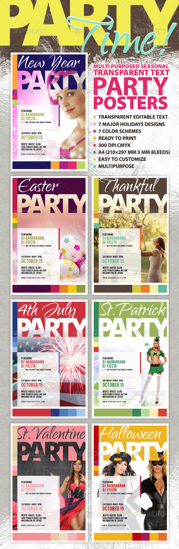 GraphicRiver Multipurpose Seasonal Party Posters Kit 6341662