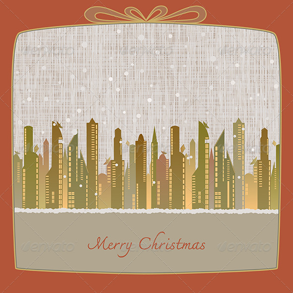 GraphicRiver Merry Christmas Cityscape in Winter Background 6375239