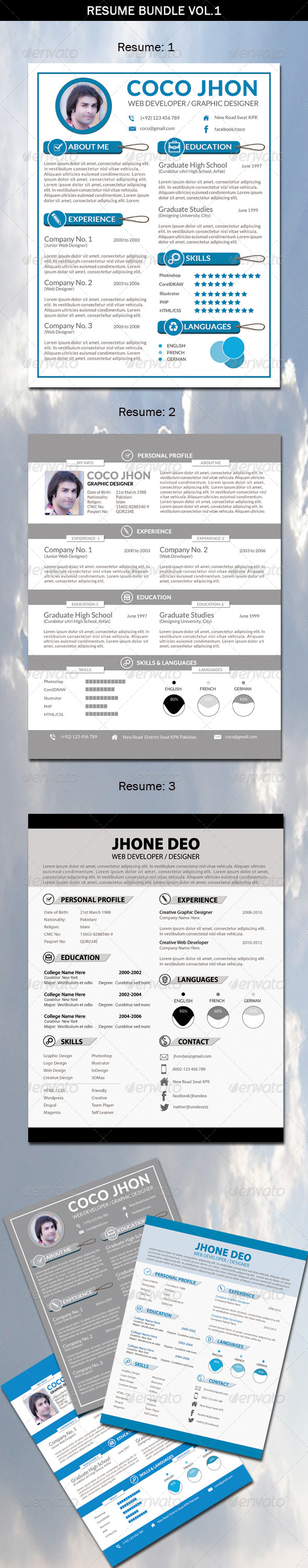 GraphicRiver Resume Bundle Vol.1 6375254