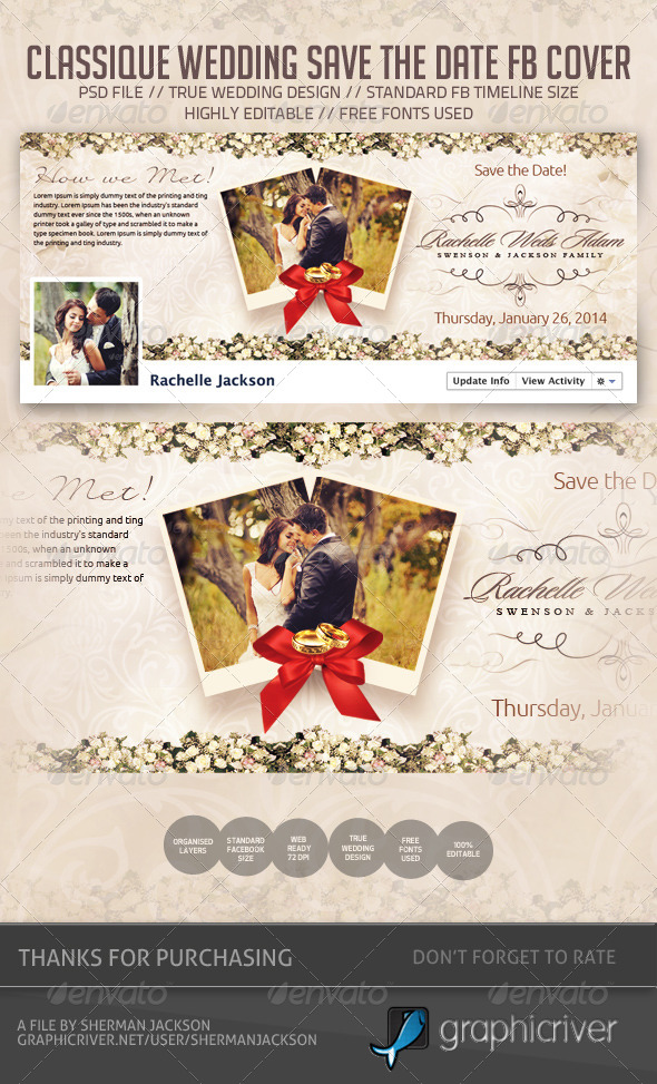 wedding save the date facebook cover graphicriver. Black Bedroom Furniture Sets. Home Design Ideas