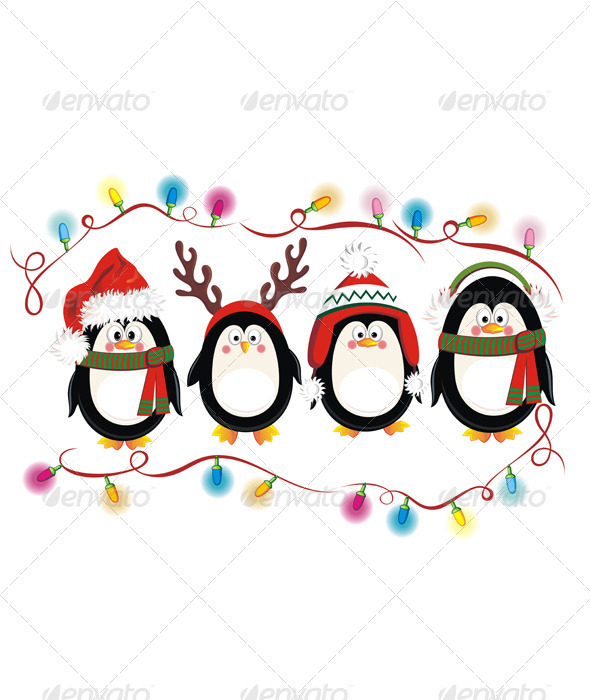 GraphicRiver Christmas Penguins 6376190