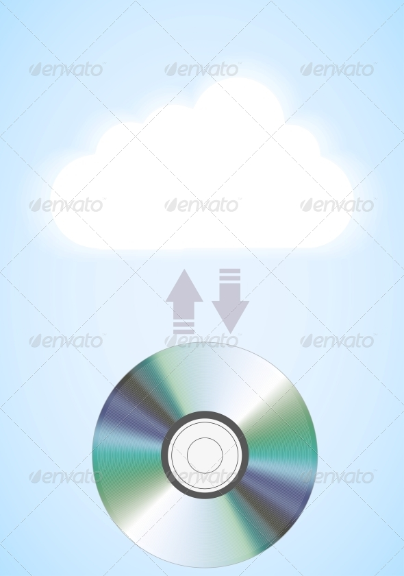 GraphicRiver Vector Computer Cloud with Disc on Blue 6377544