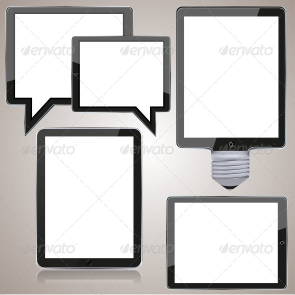 GraphicRiver Vector Computer Tablet Set on Brown Background 6377605