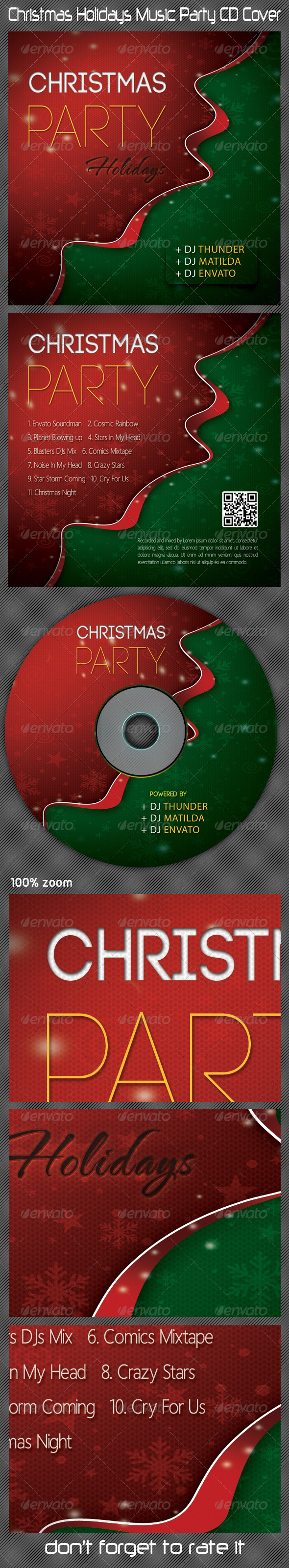 GraphicRiver Christmas Holidays Music Party CD Cover 6377631