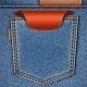 Обратно карман джинсов с красным ценником лейблом.  Векторный фон eps10. реклама,реклама...