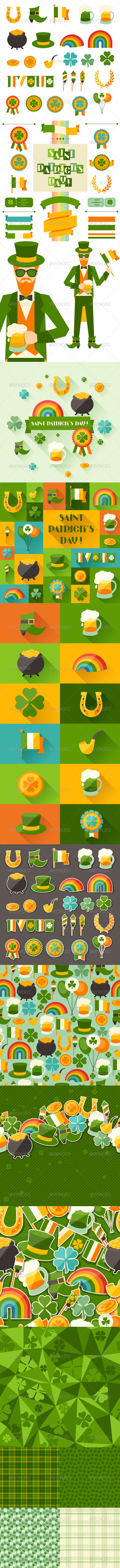 GraphicRiver Saint Patrick s Day Backgrounds and Icons 6378719