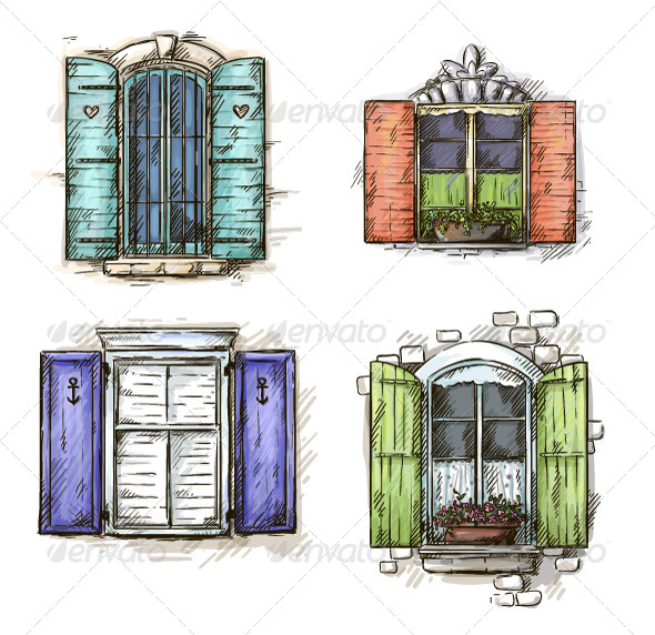 GraphicRiver Set of Vintage Windows Hand Drawn 6378788