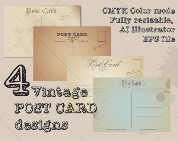 GraphicRiver Vintage Post Cards 6378932