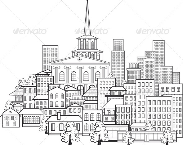 GraphicRiver Small Town of a Few Streets and Main Buildings 6379031