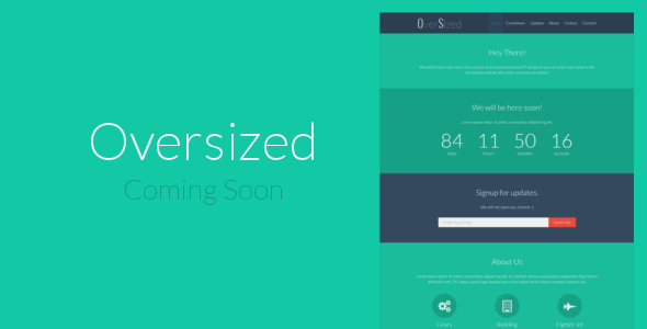 Oversized - Minimal Flat Coming Soon Template