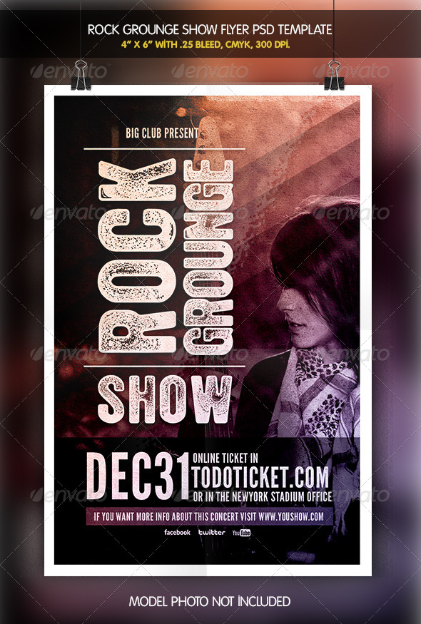 GraphicRiver Rock Grounge Show Flyer Template 6342226