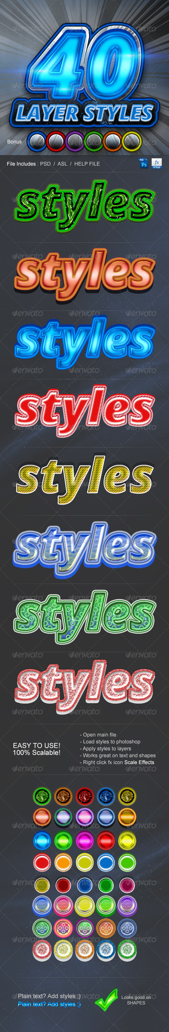GraphicRiver 40 Layer Styles 6379374