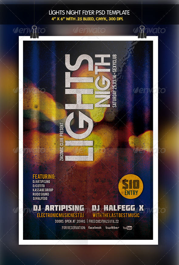 GraphicRiver Lights Night Party Flyer 6333779
