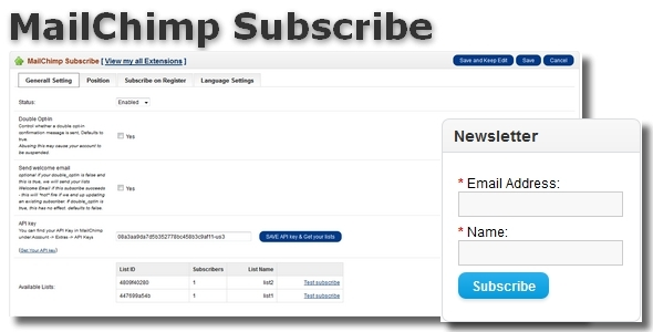 MailChimp Subscribe Integration for OpenCart