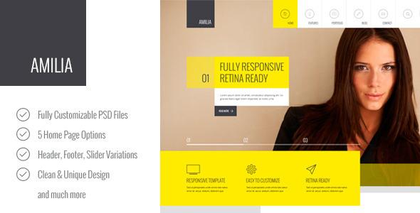 Amilia – Multipurpose PSD Template - Corporate PSD Templates