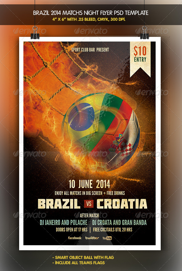 GraphicRiver Brazil 2014 Match Teams Match Flyer 6326608
