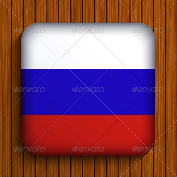 Vector Flag Icon on Wooden Background