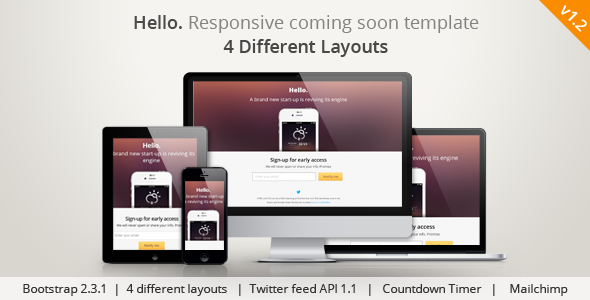 Hello Responsive Coming Soon Template - Under Construction Specialty Pages