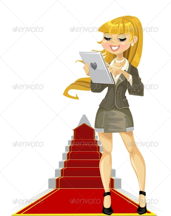 GraphicRiver Girl with Laptop on Success Ladder 6381259