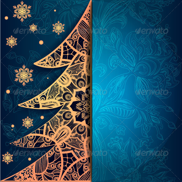 Christmas Greeting Card with Decorative Tree
