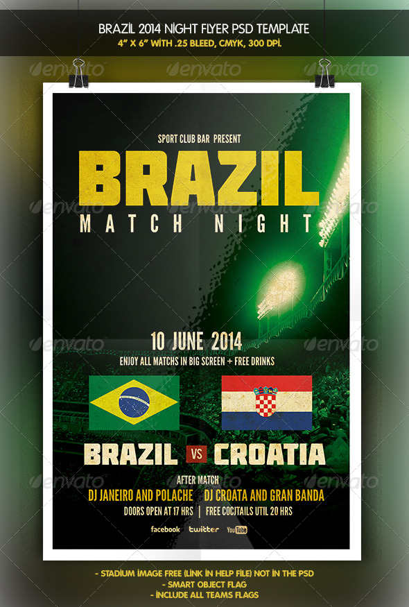 GraphicRiver Brazil 14 Night Match Flyer 6381332