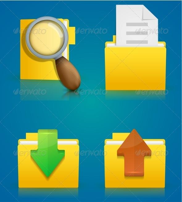 GraphicRiver Folder Icon Set on Blue Background 6381609