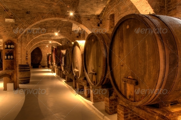 Wine cellar in Abbey of Monte Oliveto Maggiore - Stock Photo - Images