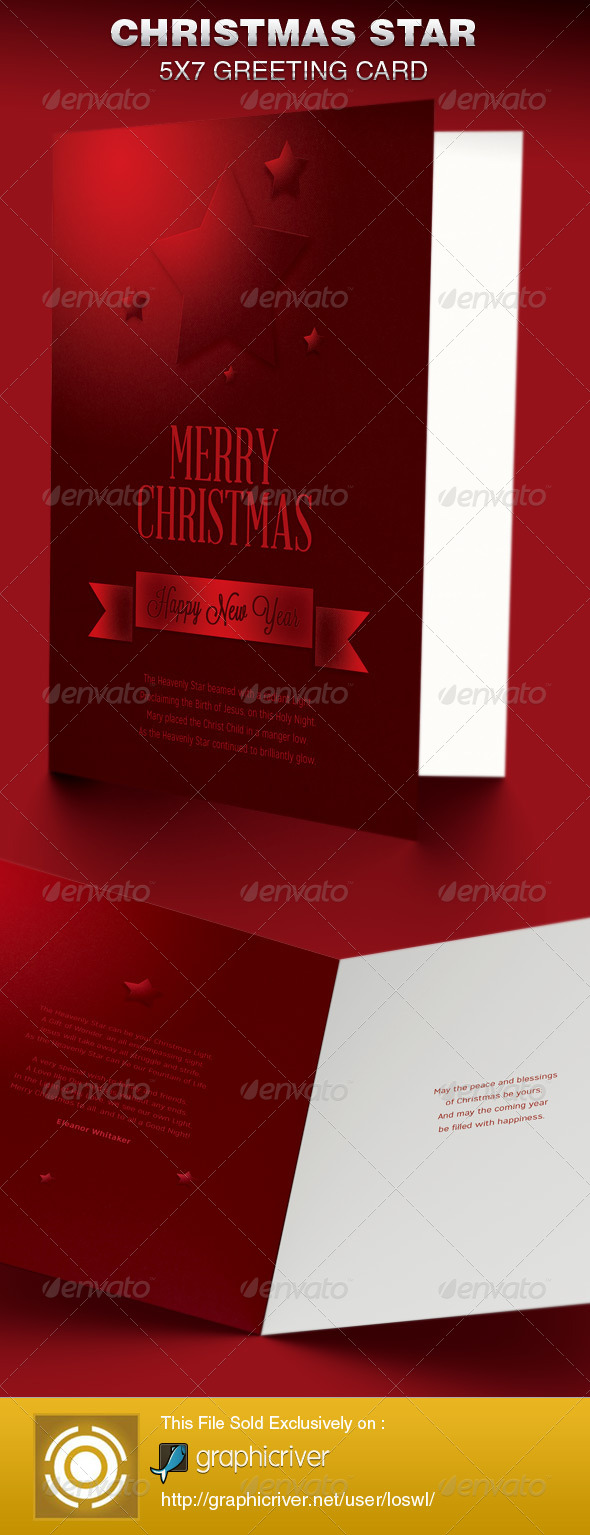GraphicRiver Christmas Star Greeting Card Template 6382276