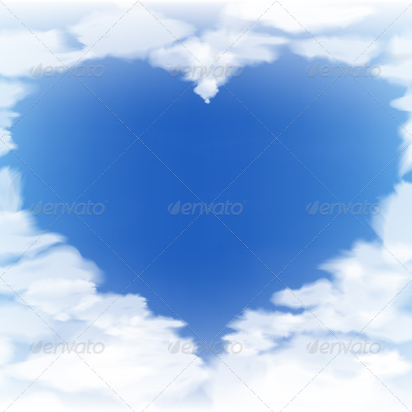 GraphicRiver Blue Sky with Clouds in the Form of a Heart 6234225