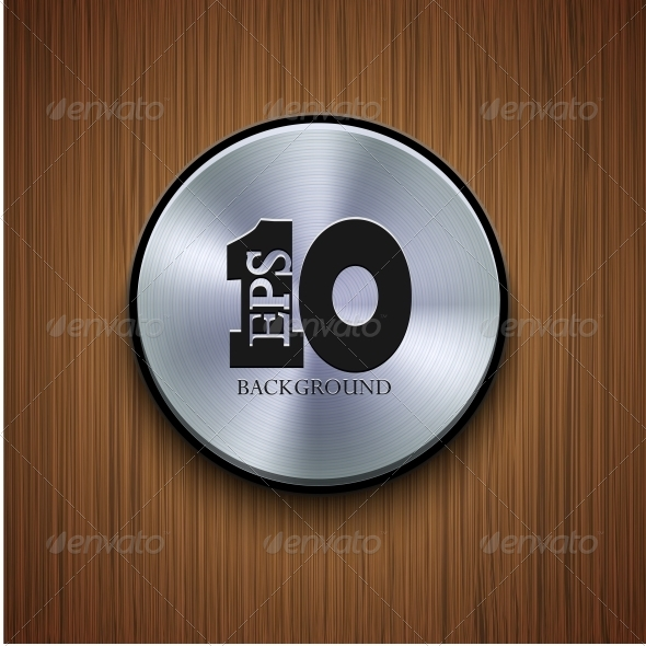 GraphicRiver Vector Metal Icon on Wooden Background 6382673