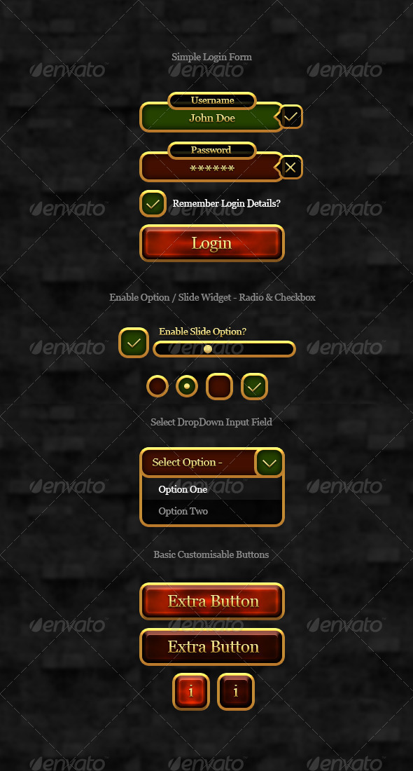 RPG Gold User Interface Elements - User Interfaces Web Elements
