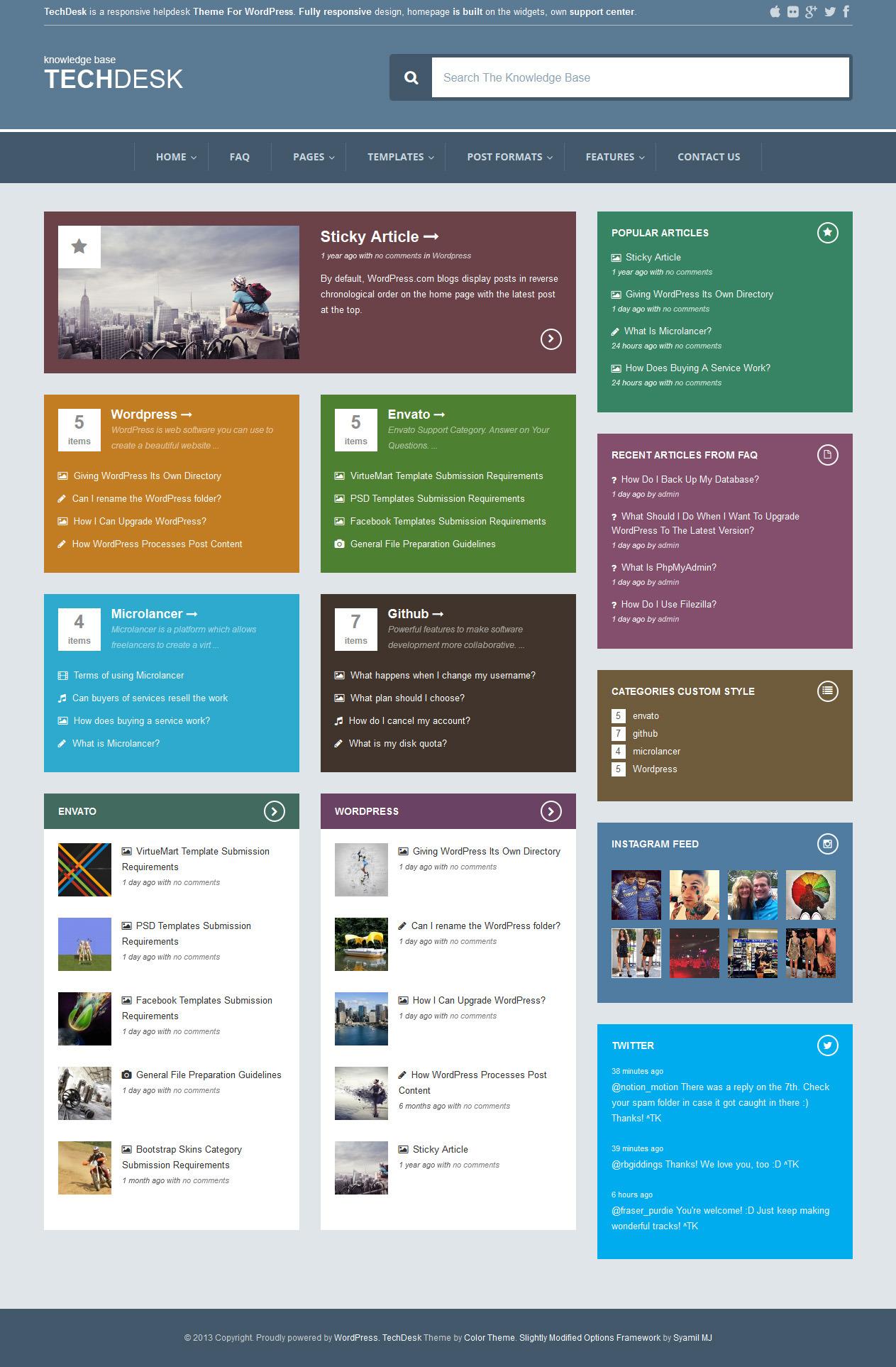TechDesk - Responsive Knowledge Base/FAQ Theme - Home Page