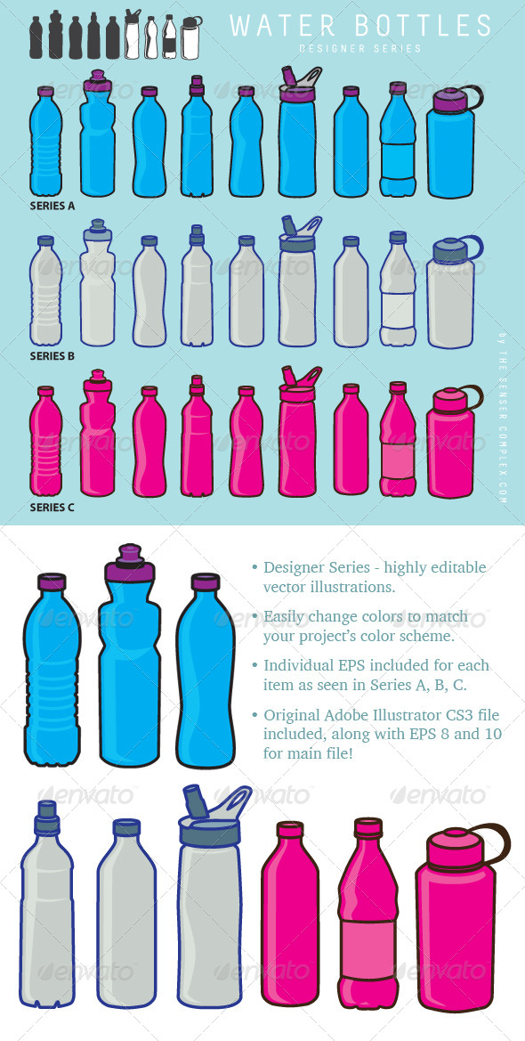 GraphicRiver Water Bottle Collection 6383183
