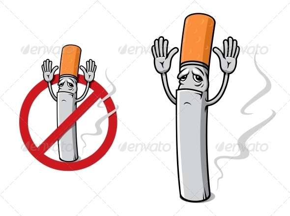 GraphicRiver Sad Cigarette in Cartoon Style 6383188