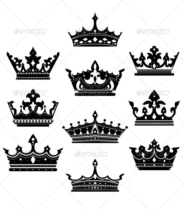 GraphicRiver Black Crowns Set for Heraldry Design 6383203