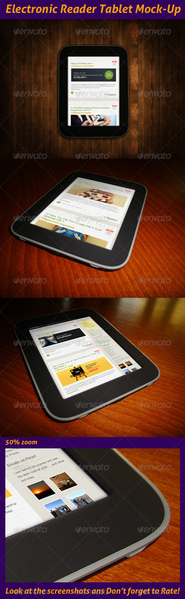 GraphicRiver Electronic Reader Tablet Mock-Up 6383221