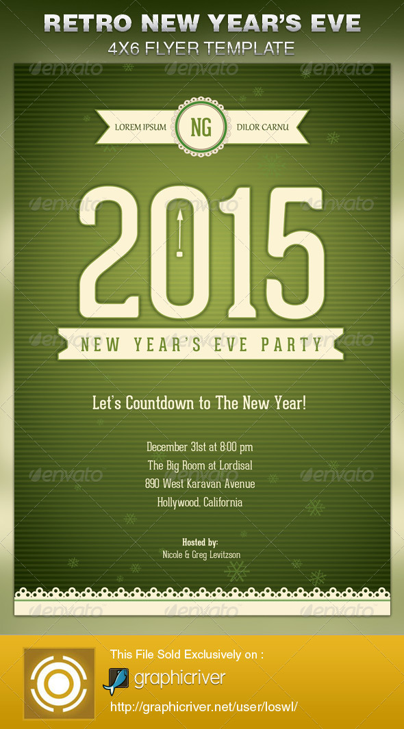 Retro New Year's Eve Party Flyer Template | GraphicRiver