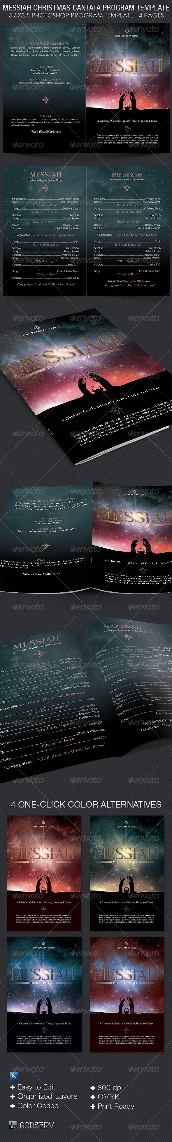 Messiah Christmas Cantata Program Template - Informational Brochures