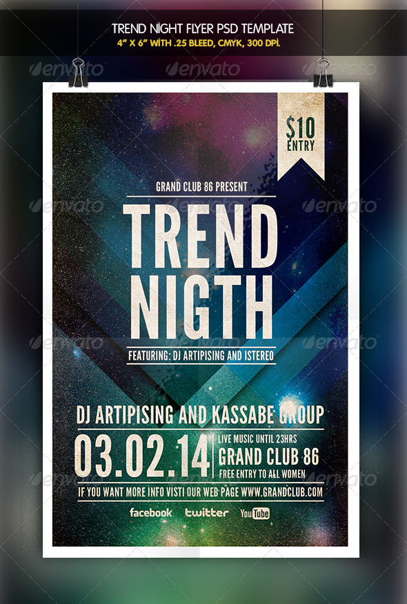 GraphicRiver Trend Night Party Flyer 6347762